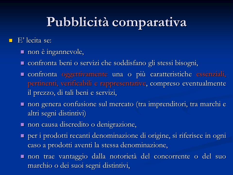 Pubblicità comparativa E lecita se: E lecita se: non è ingannevole, non è ingannevole, confronta beni o servizi che soddisfano gli stessi bisogni, con