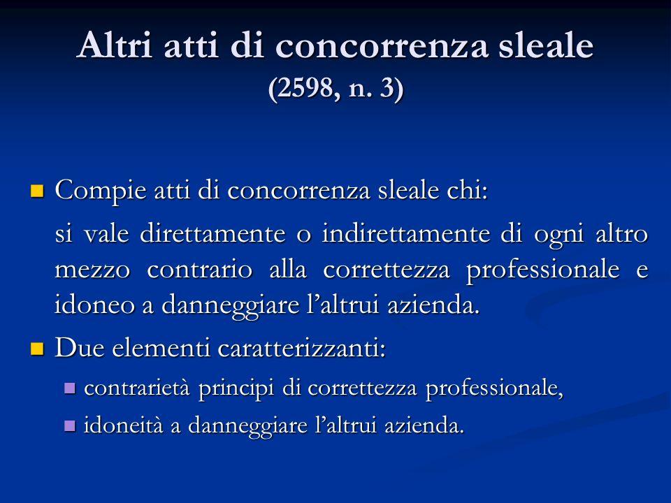 Altri atti di concorrenza sleale (2598, n. 3) Compie atti di concorrenza sleale chi: Compie atti di concorrenza sleale chi: si vale direttamente o ind