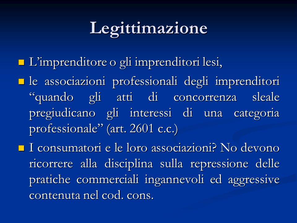 Legittimazione Limprenditore o gli imprenditori lesi, Limprenditore o gli imprenditori lesi, le associazioni professionali degli imprenditori quando g