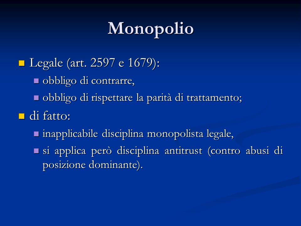 Monopolio Legale (art. 2597 e 1679): Legale (art. 2597 e 1679): obbligo di contrarre, obbligo di contrarre, obbligo di rispettare la parità di trattam