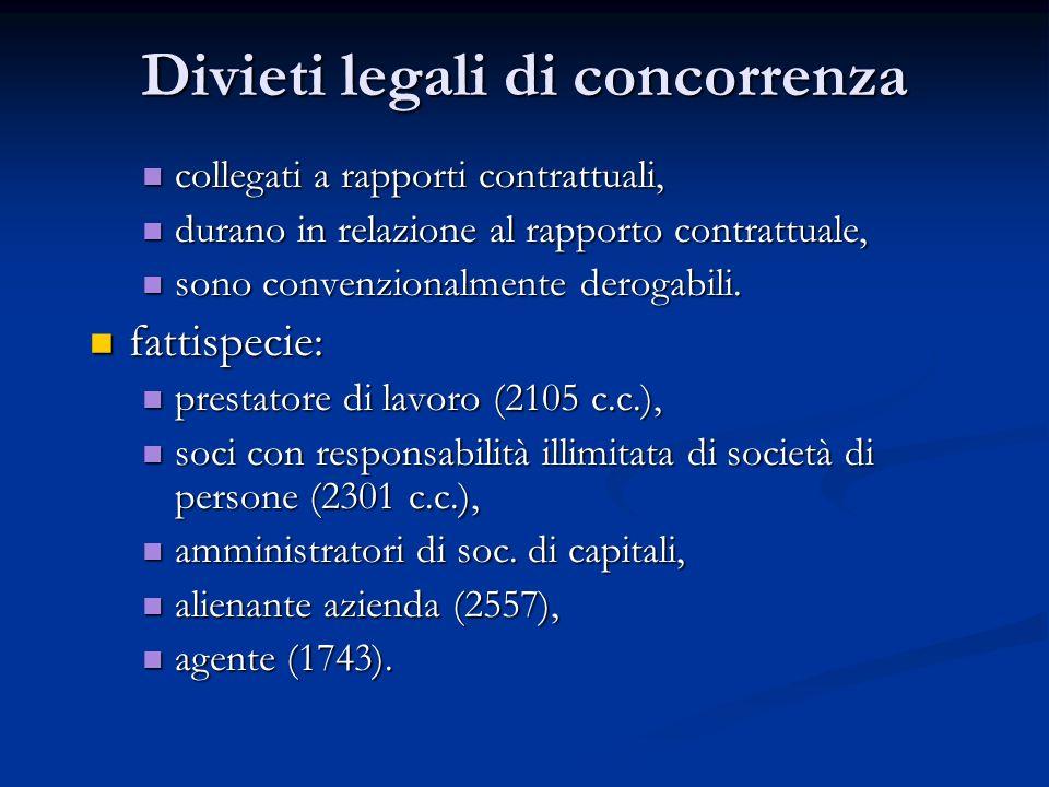 Divieti legali di concorrenza collegati a rapporti contrattuali, collegati a rapporti contrattuali, durano in relazione al rapporto contrattuale, dura