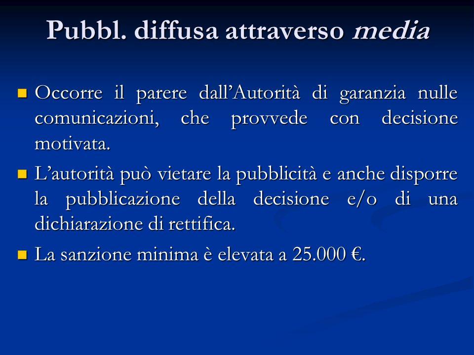 Pubbl. diffusa attraverso media Occorre il parere dallAutorità di garanzia nulle comunicazioni, che provvede con decisione motivata. Occorre il parere