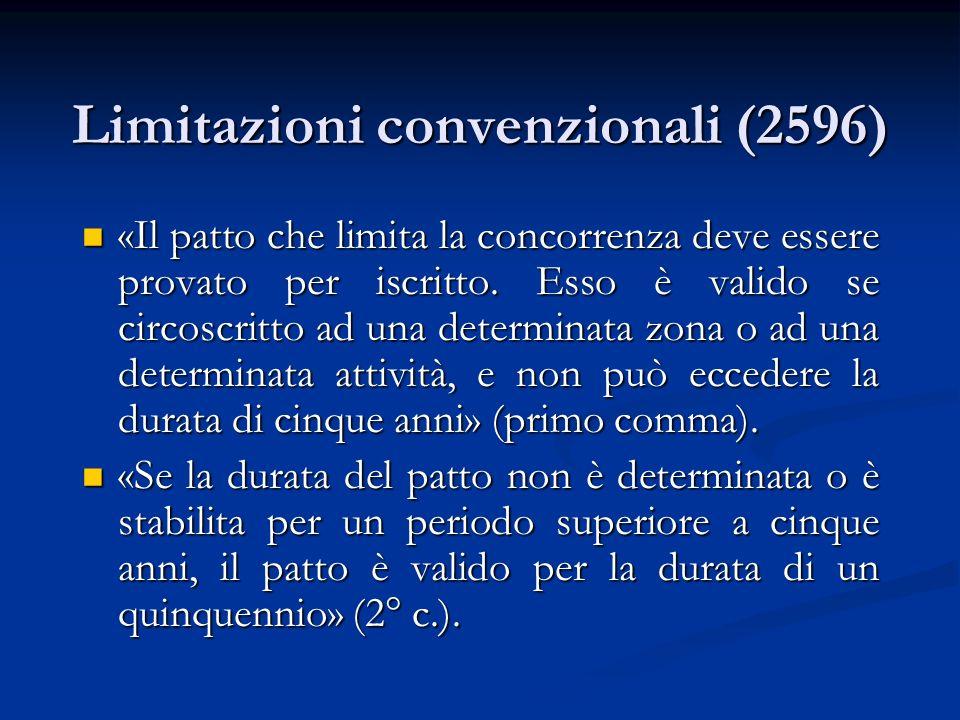 Limitazioni convenzionali (2596) «Il patto che limita la concorrenza deve essere provato per iscritto. Esso è valido se circoscritto ad una determinat