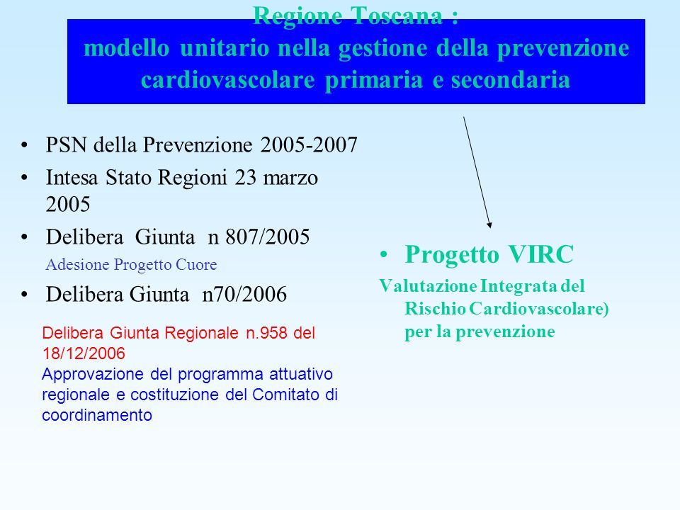 Regione Toscana : modello unitario nella gestione della prevenzione cardiovascolare primaria e secondaria PSN della Prevenzione 2005-2007 Intesa Stato