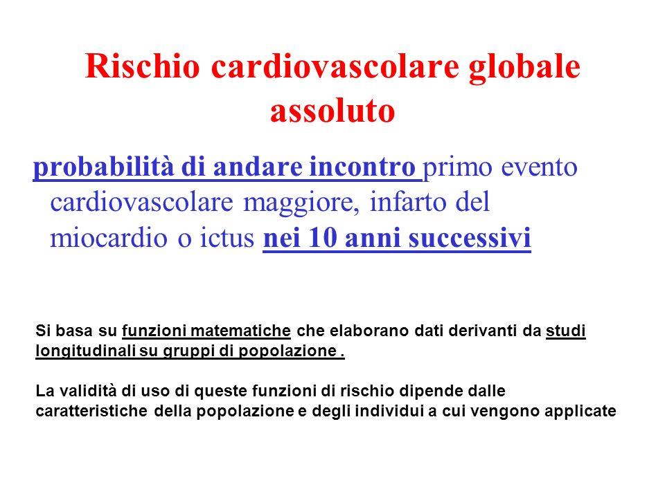 Rischio cardiovascolare globale assoluto probabilità di andare incontro primo evento cardiovascolare maggiore, infarto del miocardio o ictus nei 10 an