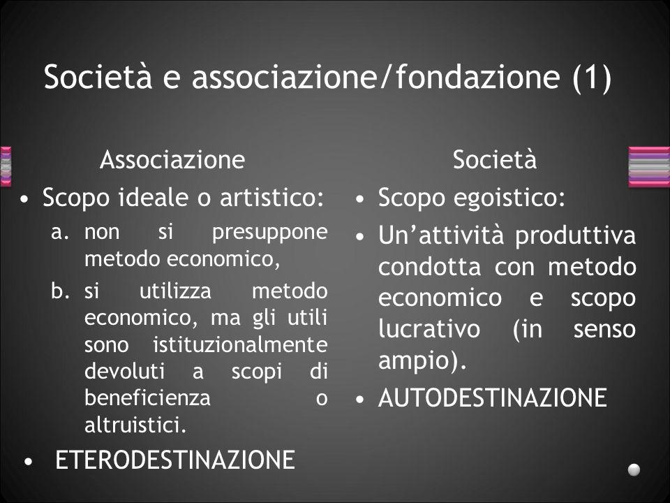 Società e associazione/fondazione (1) Associazione Scopo ideale o artistico: a.non si presuppone metodo economico, b.si utilizza metodo economico, ma