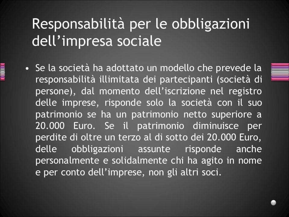Responsabilità per le obbligazioni dellimpresa sociale Se la società ha adottato un modello che prevede la responsabilità illimitata dei partecipanti