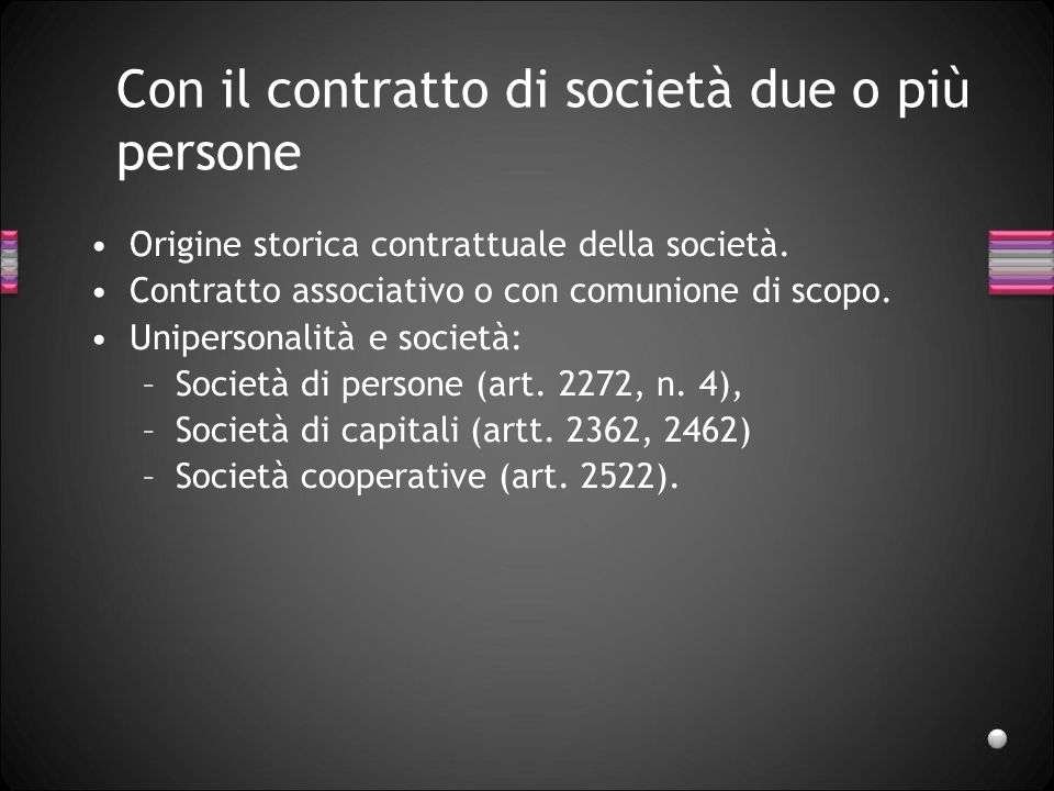 Con il contratto di società due o più persone Origine storica contrattuale della società. Contratto associativo o con comunione di scopo. Unipersonali