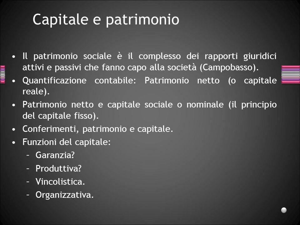 Capitale e patrimonio Il patrimonio sociale è il complesso dei rapporti giuridici attivi e passivi che fanno capo alla società (Campobasso). Quantific
