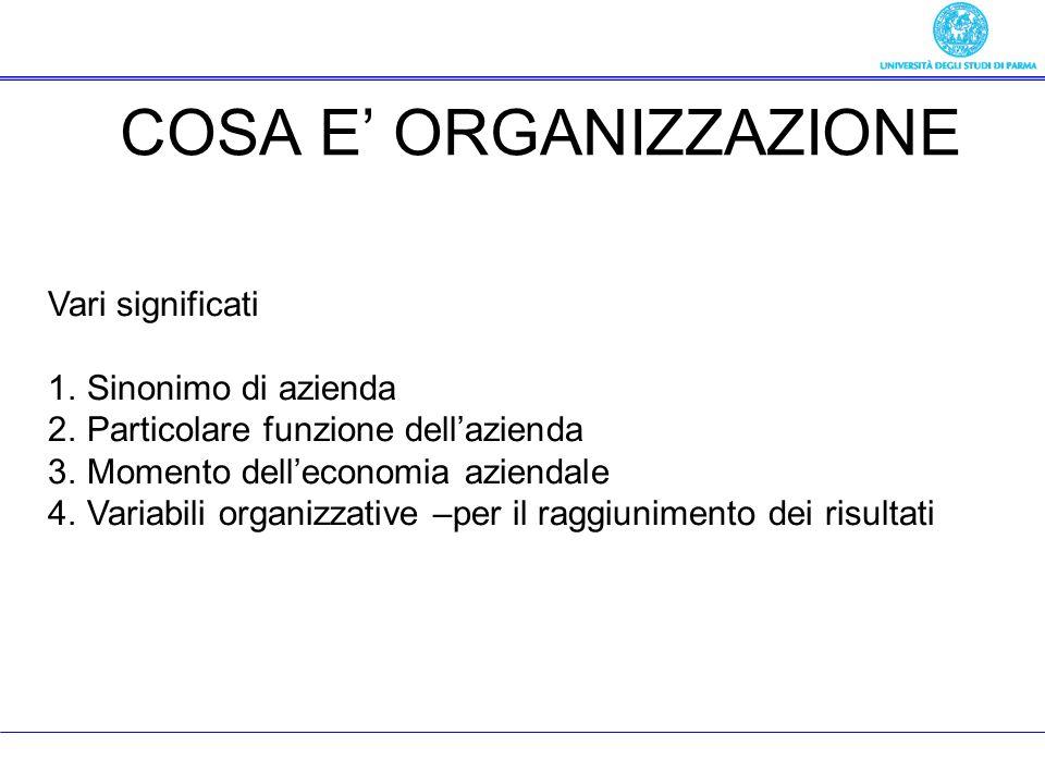 COSA E ORGANIZZAZIONE Vari significati 1.Sinonimo di azienda 2.Particolare funzione dellazienda 3.Momento delleconomia aziendale 4.Variabili organizza