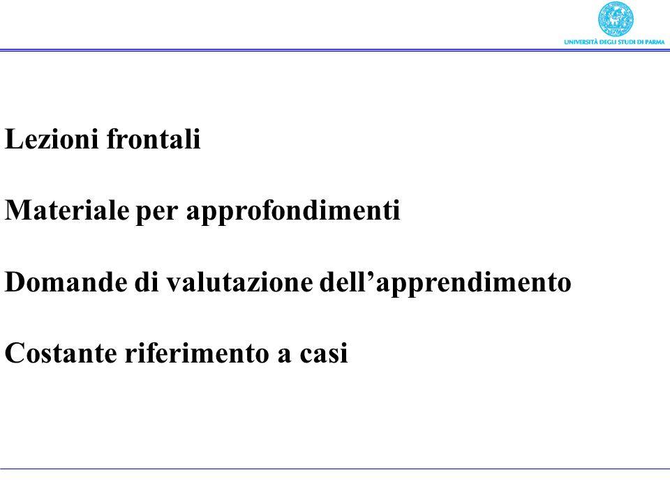 Lezioni frontali Materiale per approfondimenti Domande di valutazione dellapprendimento Costante riferimento a casi In cosa consiste il corso
