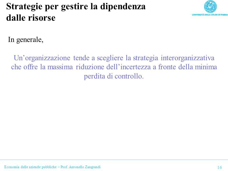 Economia delle aziende pubbliche – Prof. Antonello Zangrandi Strategie per gestire la dipendenza dalle risorse 16 In generale, Unorganizzazione tende