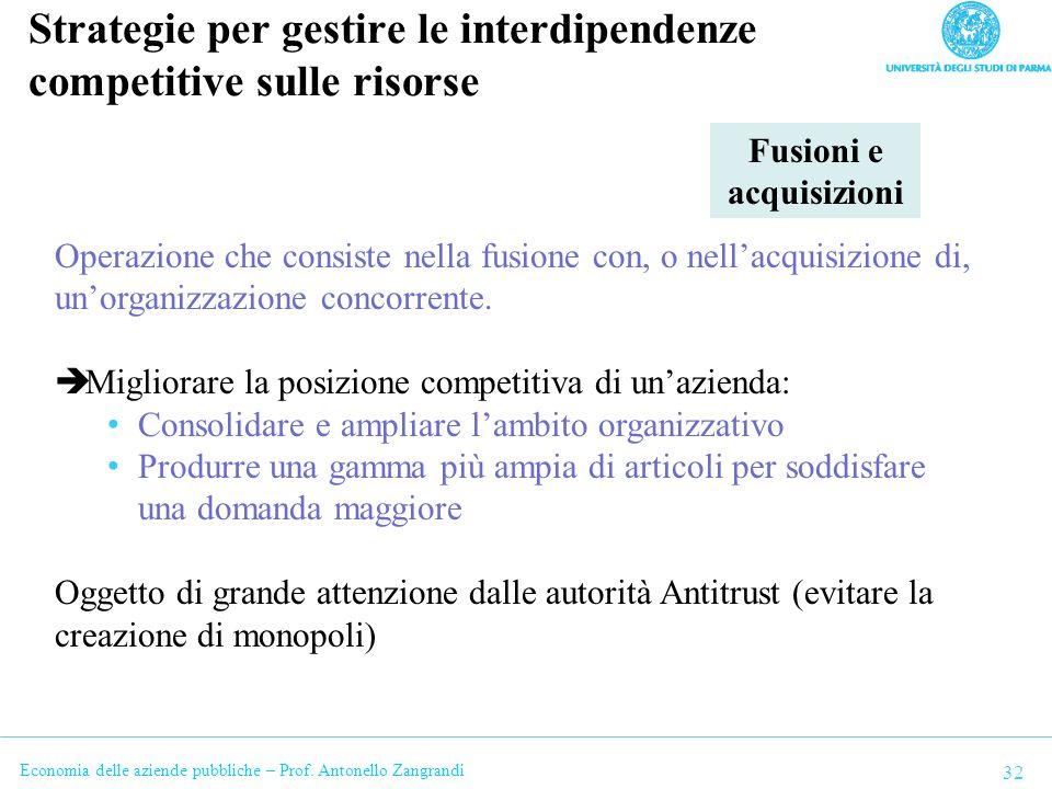 Economia delle aziende pubbliche – Prof. Antonello Zangrandi Strategie per gestire le interdipendenze competitive sulle risorse 32 Fusioni e acquisizi