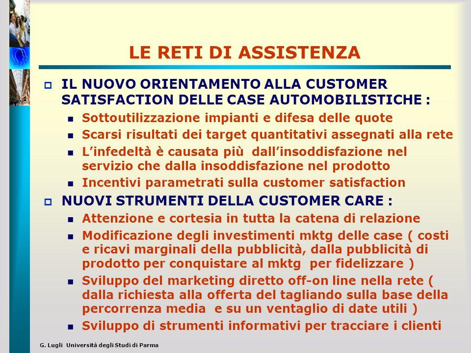 G. Lugli Università degli Studi di Parma LE RETI DI ASSISTENZA IL NUOVO ORIENTAMENTO ALLA CUSTOMER SATISFACTION DELLE CASE AUTOMOBILISTICHE : Sottouti