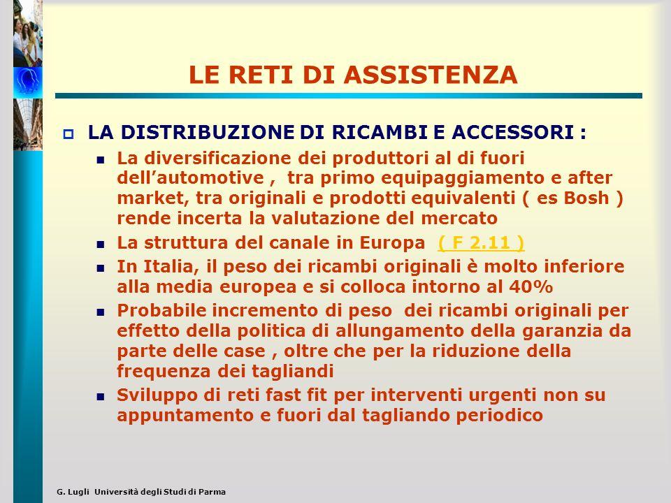 G. Lugli Università degli Studi di Parma LE RETI DI ASSISTENZA LA DISTRIBUZIONE DI RICAMBI E ACCESSORI : La diversificazione dei produttori al di fuor