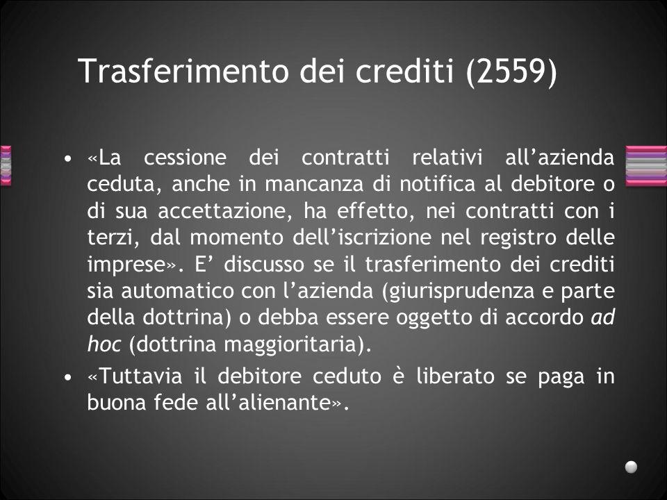 Trasferimento dei crediti (2559) «La cessione dei contratti relativi allazienda ceduta, anche in mancanza di notifica al debitore o di sua accettazione, ha effetto, nei contratti con i terzi, dal momento delliscrizione nel registro delle imprese».