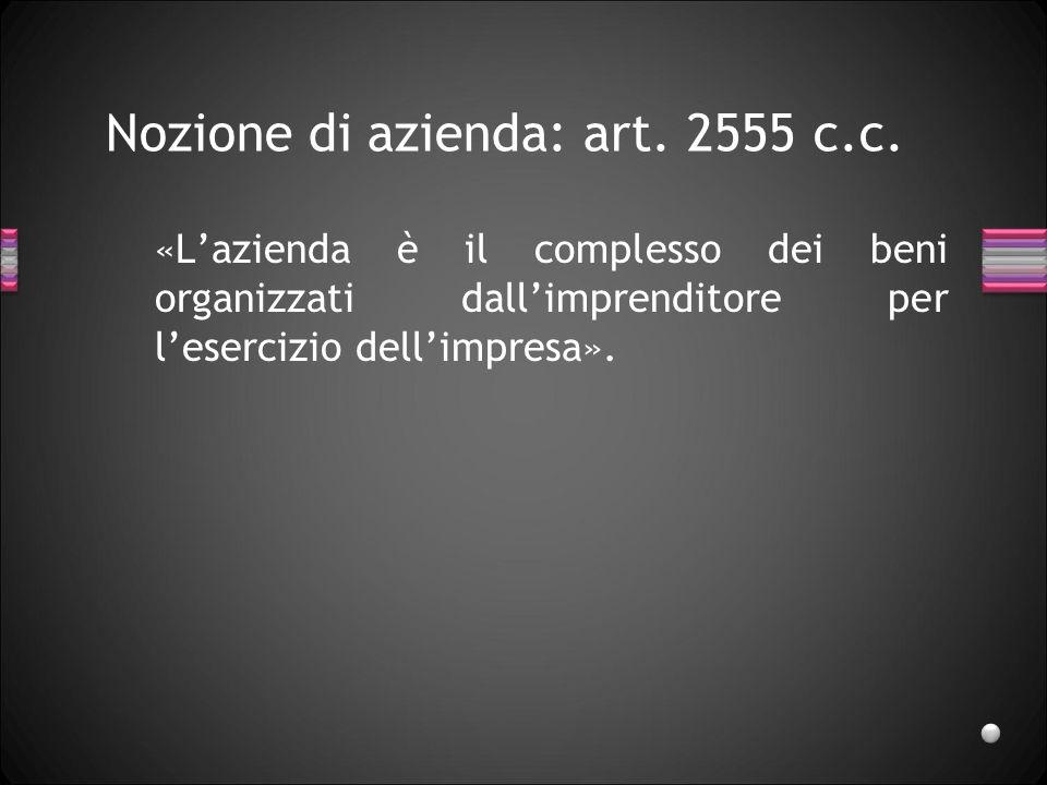 Nozione di azienda: art.2555 c.c.