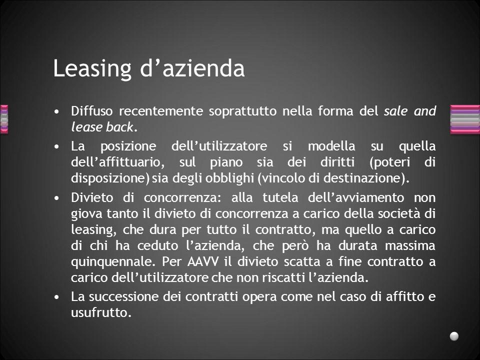 Leasing dazienda Diffuso recentemente soprattutto nella forma del sale and lease back.