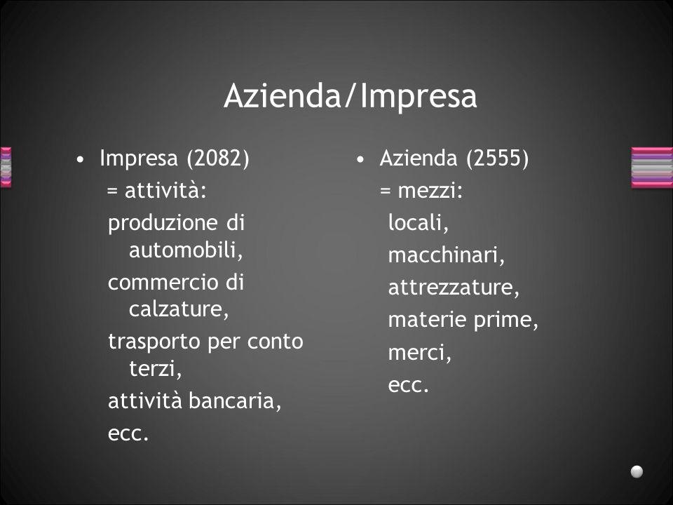 Azienda/Impresa Impresa (2082) = attività: produzione di automobili, commercio di calzature, trasporto per conto terzi, attività bancaria, ecc.