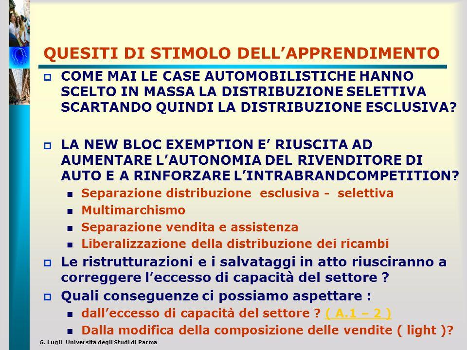 G. Lugli Università degli Studi di Parma QUESITI DI STIMOLO DELLAPPRENDIMENTO COME MAI LE CASE AUTOMOBILISTICHE HANNO SCELTO IN MASSA LA DISTRIBUZIONE