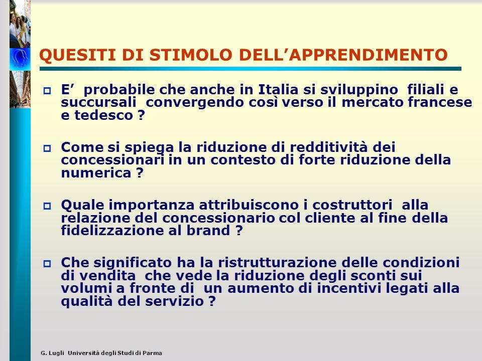 G. Lugli Università degli Studi di Parma QUESITI DI STIMOLO DELLAPPRENDIMENTO E probabile che anche in Italia si sviluppino filiali e succursali conve