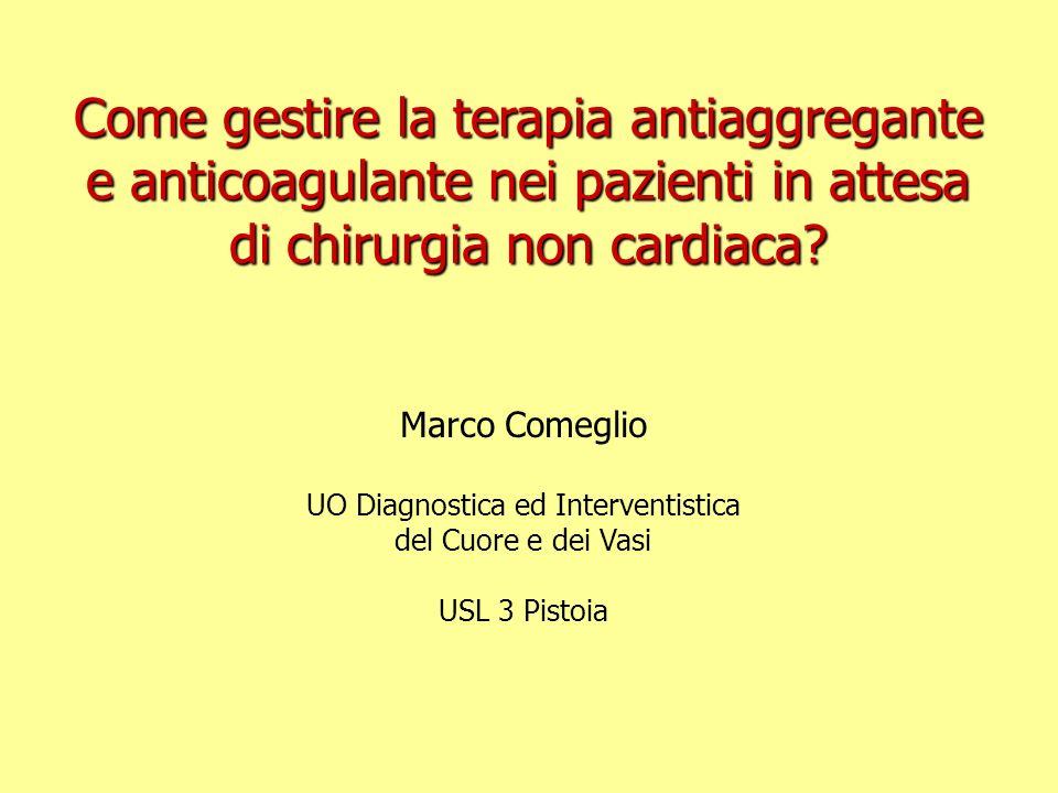 Marco Comeglio UO Diagnostica ed Interventistica del Cuore e dei Vasi USL 3 Pistoia Come gestire la terapia antiaggregante e anticoagulante nei pazien