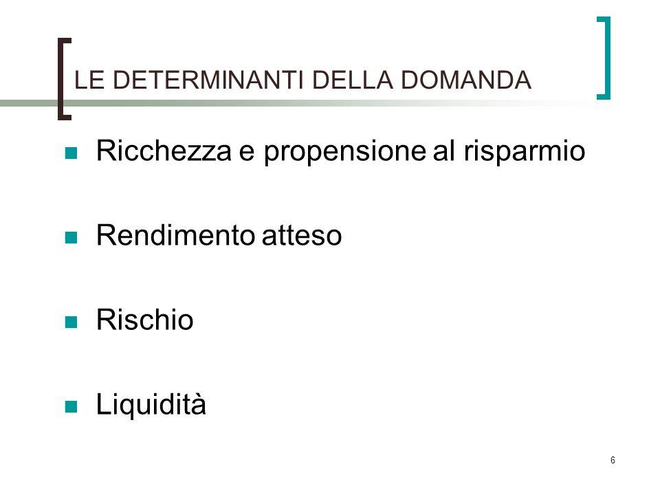 LE DETERMINANTI DELLA DOMANDA Ricchezza e propensione al risparmio Rendimento atteso Rischio Liquidità 6