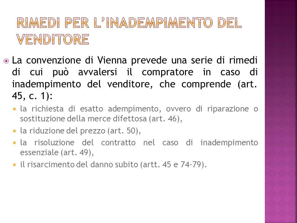 La convenzione di Vienna prevede una serie di rimedi di cui può avvalersi il compratore in caso di inadempimento del venditore, che comprende (art.