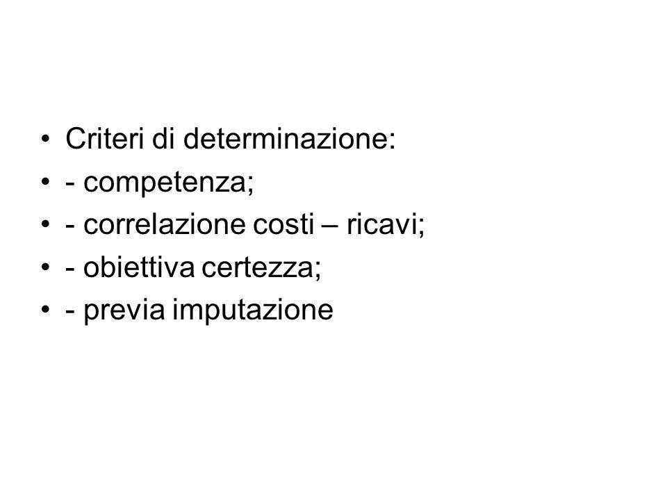 Criteri di determinazione: - competenza; - correlazione costi – ricavi; - obiettiva certezza; - previa imputazione