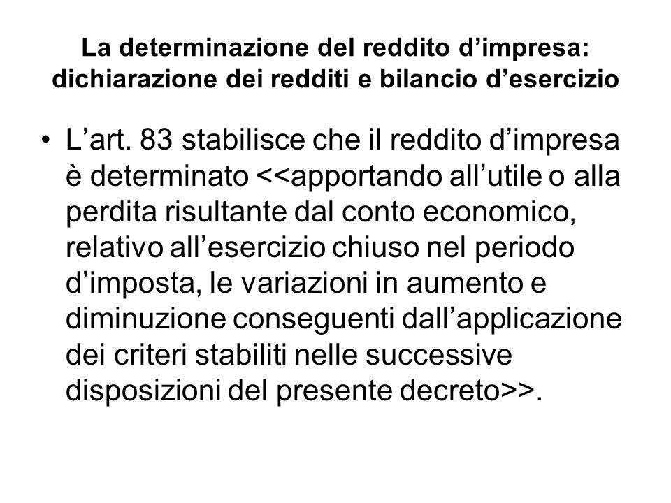 La determinazione del reddito dimpresa: dichiarazione dei redditi e bilancio desercizio Lart.