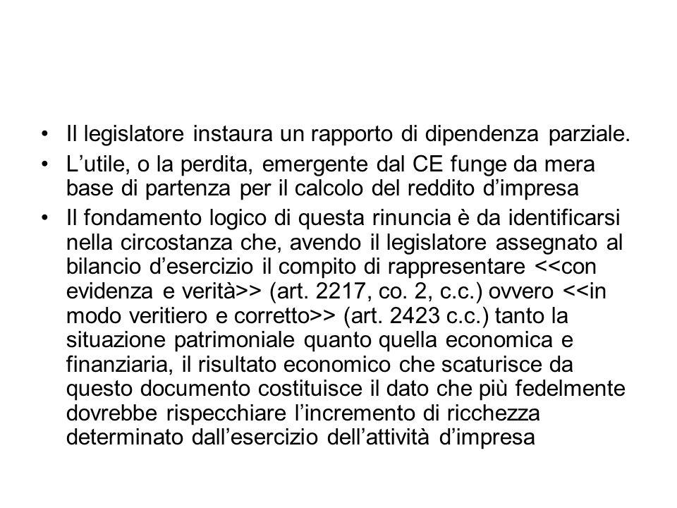 Il legislatore instaura un rapporto di dipendenza parziale.