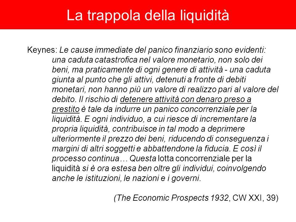 La trappola della liquidità Keynes: Le cause immediate del panico finanziario sono evidenti: una caduta catastrofica nel valore monetario, non solo dei beni, ma praticamente di ogni genere di attività - una caduta giunta al punto che gli attivi, detenuti a fronte di debiti monetari, non hanno più un valore di realizzo pari al valore del debito.