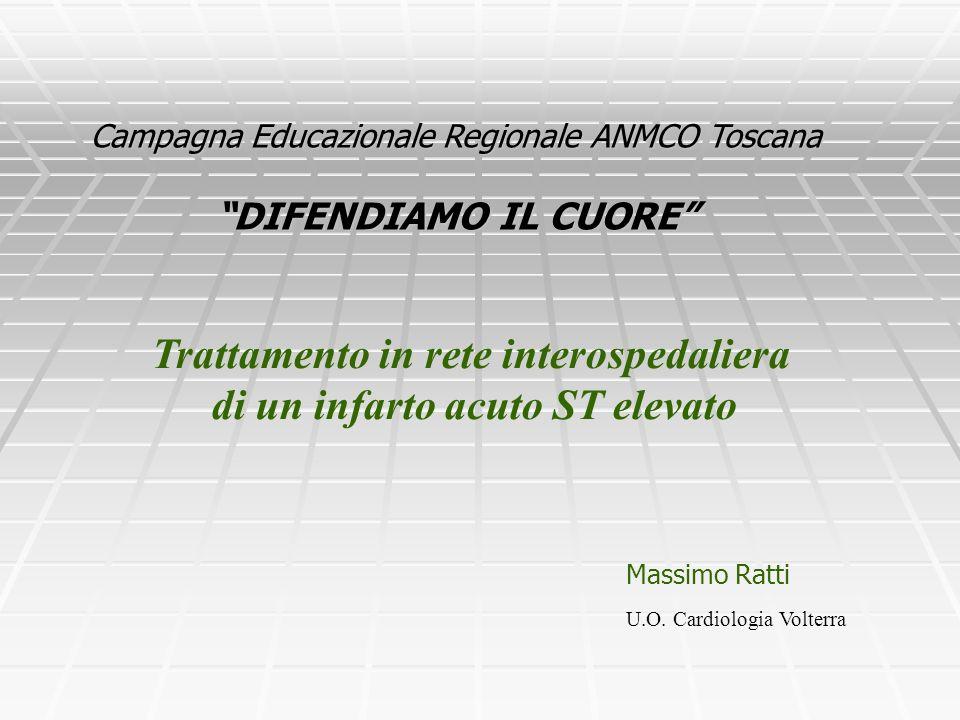 Campagna Educazionale Regionale ANMCO Toscana DIFENDIAMO IL CUORE Massimo Ratti Trattamento in rete interospedaliera di un infarto acuto ST elevato U.