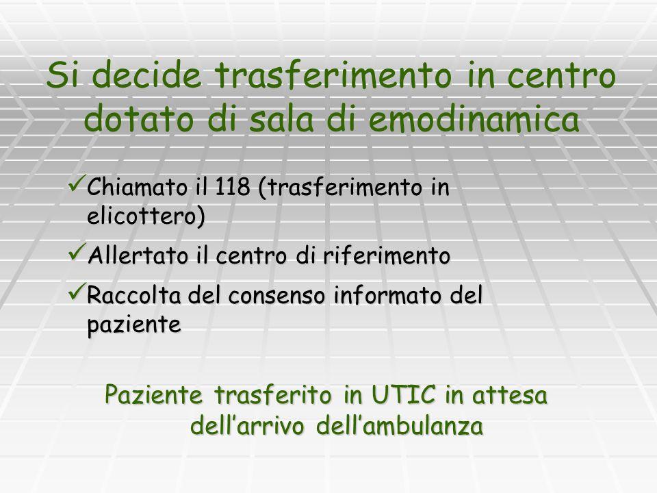 Si decide trasferimento in centro dotato di sala di emodinamica Chiamato il 118 (trasferimento in elicottero) Chiamato il 118 (trasferimento in elicot
