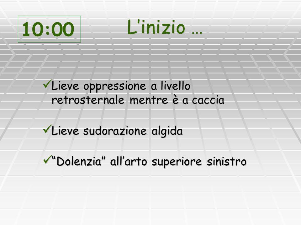 Linizio … Lieve oppressione a livello retrosternale mentre è a caccia Lieve oppressione a livello retrosternale mentre è a caccia Lieve sudorazione al