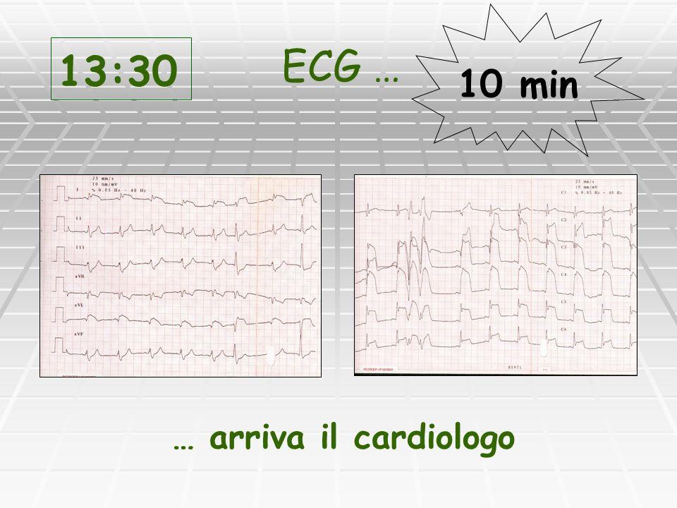 Anamnesi ed esame obiettivo Anamnesi ed esame obiettivo Valutazione ECG Valutazione ECG Indicazioni al trattamento Indicazioni al trattamento Eventuali controindicazioni alla firinolisi Eventuali controindicazioni alla firinolisi 13:30 Il Cardiologo …