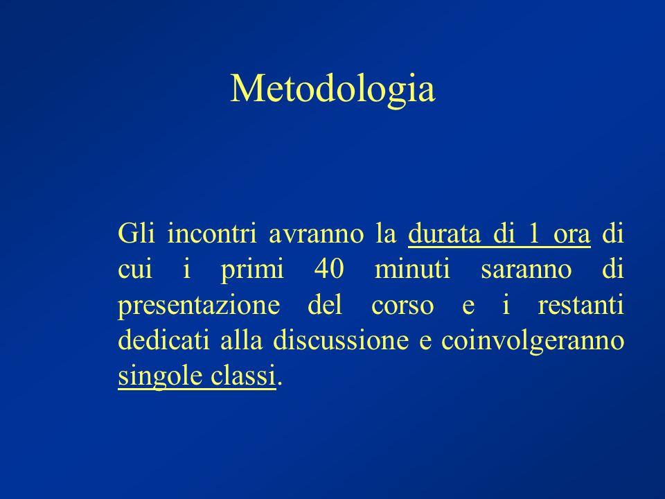 Metodologia Gli incontri avranno la durata di 1 ora di cui i primi 40 minuti saranno di presentazione del corso e i restanti dedicati alla discussione e coinvolgeranno singole classi.