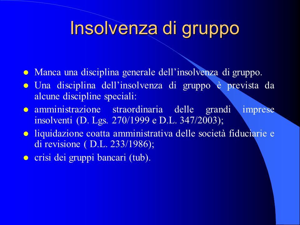 Insolvenza di gruppo l Manca una disciplina generale dellinsolvenza di gruppo.