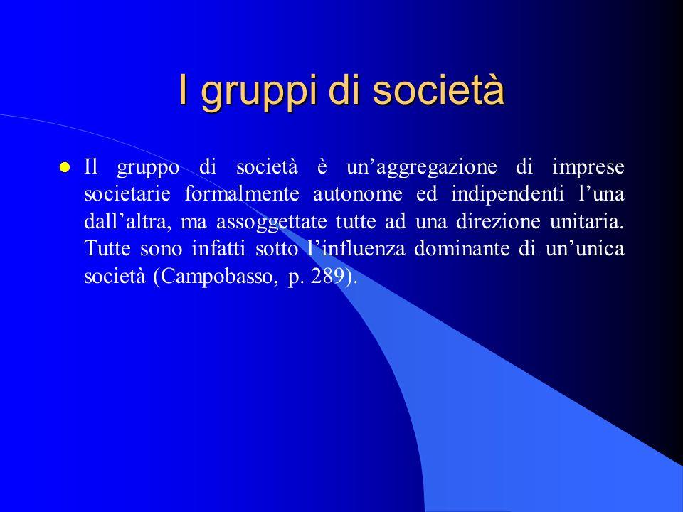 I gruppi di società l Il gruppo di società è unaggregazione di imprese societarie formalmente autonome ed indipendenti luna dallaltra, ma assoggettate tutte ad una direzione unitaria.