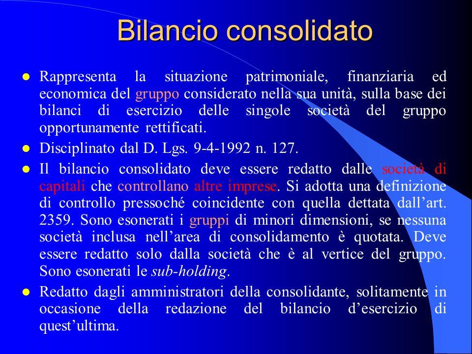 Bilancio consolidato l Rappresenta la situazione patrimoniale, finanziaria ed economica del gruppo considerato nella sua unità, sulla base dei bilanci di esercizio delle singole società del gruppo opportunamente rettificati.
