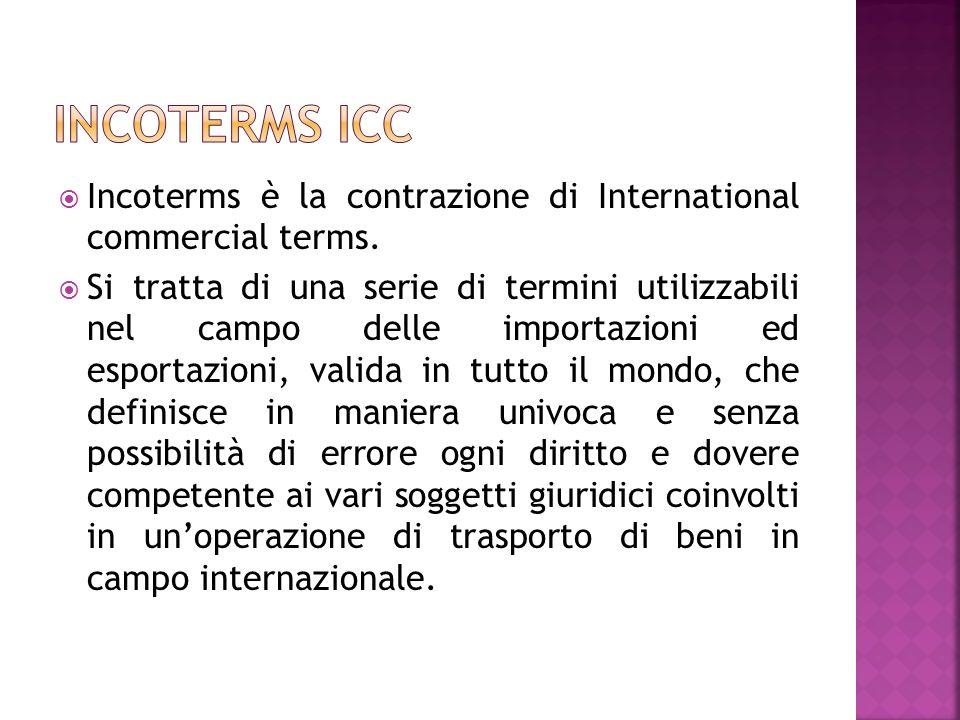 Incoterms è la contrazione di International commercial terms. Si tratta di una serie di termini utilizzabili nel campo delle importazioni ed esportazi