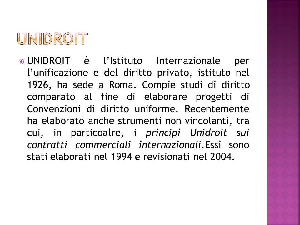 UNIDROIT è lIstituto Internazionale per lunificazione e del diritto privato, istituto nel 1926, ha sede a Roma. Compie studi di diritto comparato al f