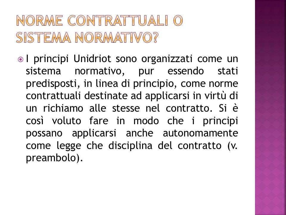I principi Unidriot sono organizzati come un sistema normativo, pur essendo stati predisposti, in linea di principio, come norme contrattuali destinat