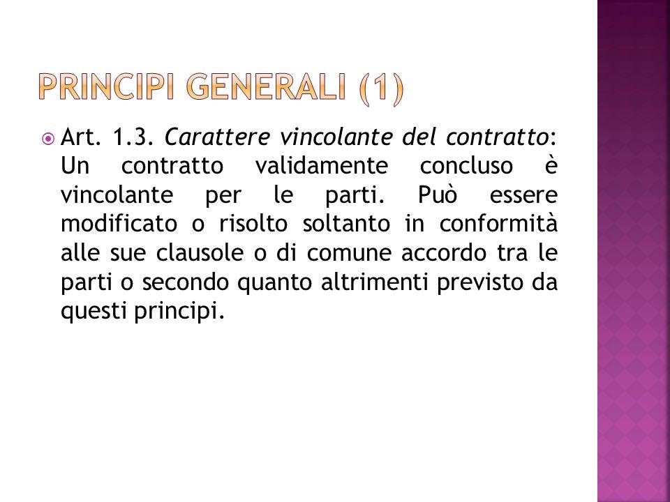 Art. 1.3. Carattere vincolante del contratto: Un contratto validamente concluso è vincolante per le parti. Può essere modificato o risolto soltanto in