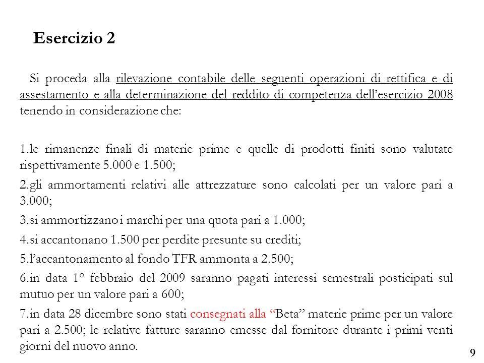 Università degli Studi di Parma 9 Si proceda alla rilevazione contabile delle seguenti operazioni di rettifica e di assestamento e alla determinazione