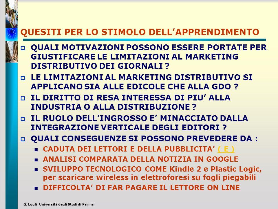 G. Lugli Università degli Studi di Parma QUESITI PER LO STIMOLO DELLAPPRENDIMENTO QUALI MOTIVAZIONI POSSONO ESSERE PORTATE PER GIUSTIFICARE LE LIMITAZ