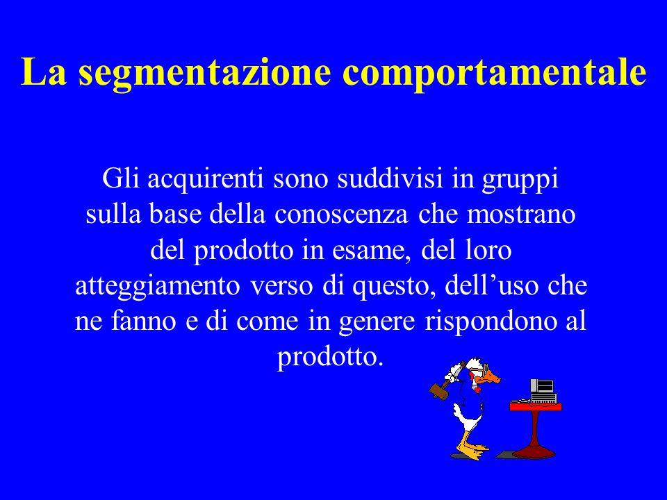 La segmentazione comportamentale Gli acquirenti sono suddivisi in gruppi sulla base della conoscenza che mostrano del prodotto in esame, del loro atte