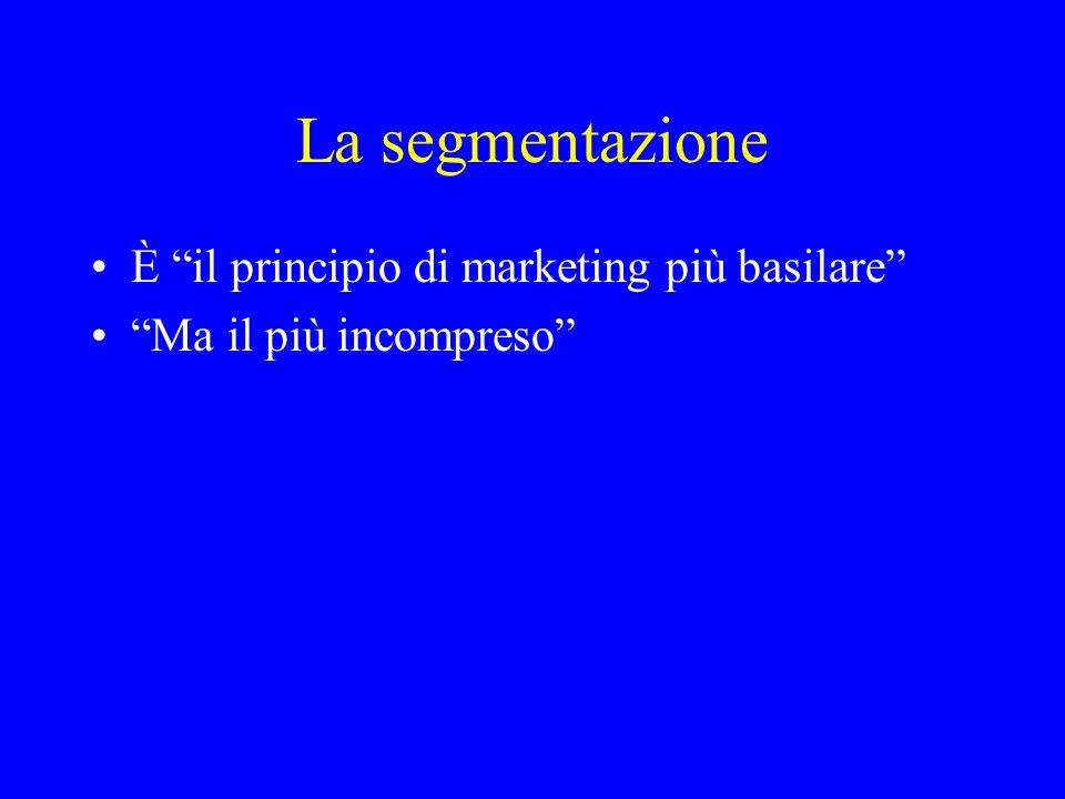 Il concetto di segmentazione Segmentare il mercato significa identificare sottogruppi di consumatori che fra loro differiscono per ciò che si attendono dallofferta o per le loro reazioni nei confronti dellattività di marketing dellimpresa.
