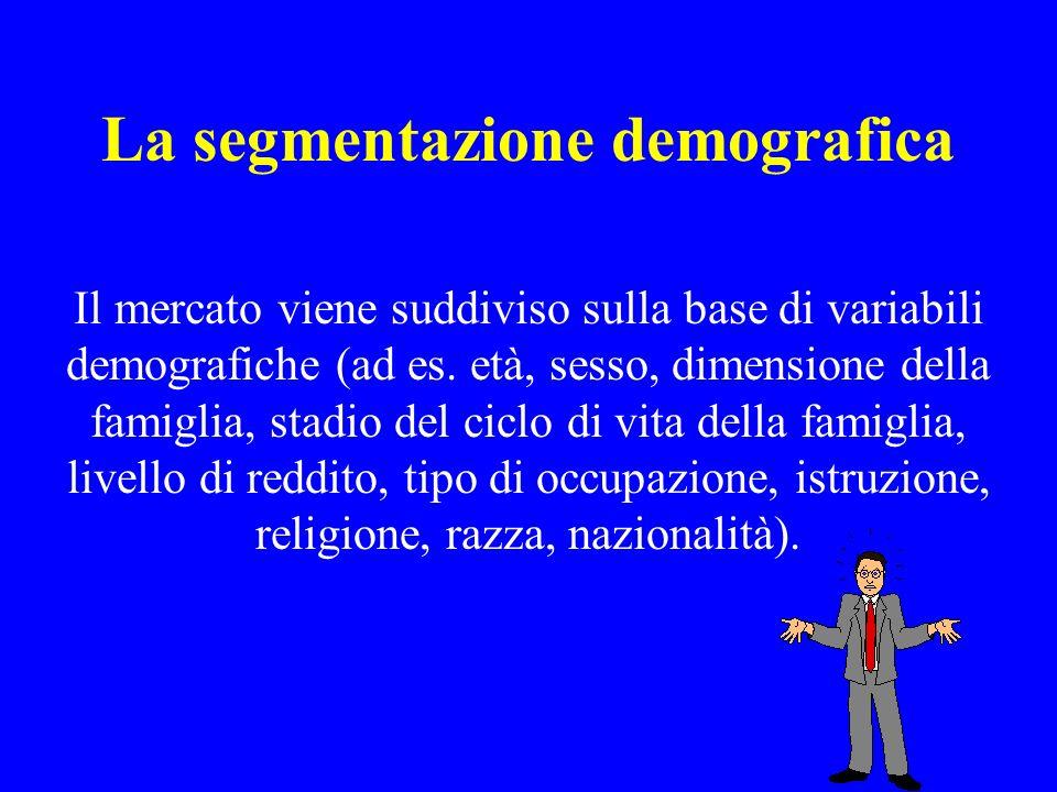 La segmentazione demografica Il mercato viene suddiviso sulla base di variabili demografiche (ad es. età, sesso, dimensione della famiglia, stadio del