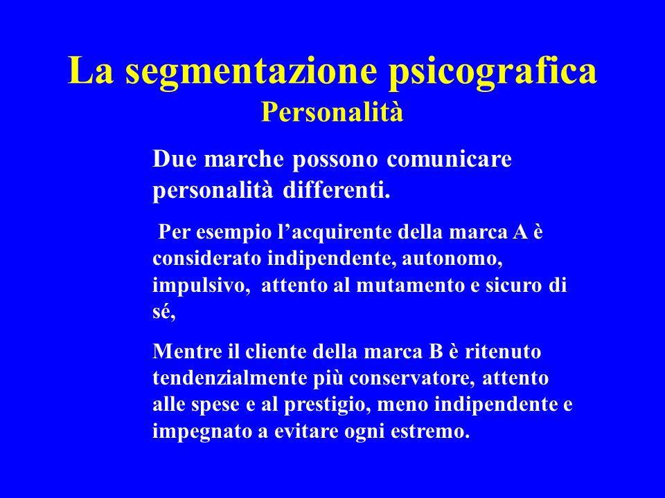La segmentazione psicografica Personalità Due marche possono comunicare personalità differenti. Per esempio lacquirente della marca A è considerato in